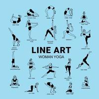 conjunto de arte de ioga de linha vetor