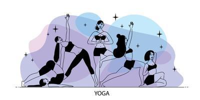 composição de ioga de arte de linha vetor
