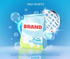 Banner realista de vetor com detergente para a roupa.