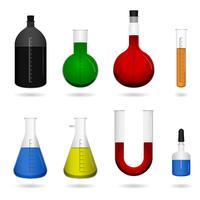 Equipamentos de laboratório químico da ciência. vetor