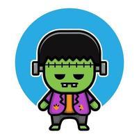 projetar o personagem mascote Frankenstein fofo vetor