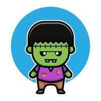 desenhar personagem fofo mascote de Frankenstein vetor