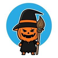 ilustração de personagem de desenho animado bonito abóbora bruxa. vetor