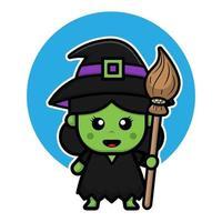 ilustração de personagem de desenho animado de bruxa verde bonito. vetor