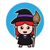 ilustração de personagem de desenho animado de bruxa bonita. vetor