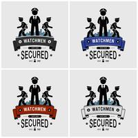 Design de logotipo de guardas de segurança. vetor