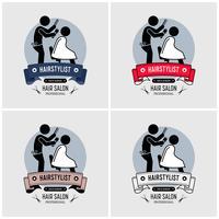 Design de logotipo de barbeiro cabeleireiro. vetor