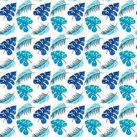 Folhas Tropicais. Textura sem costura com mão brilhante desenhada folhas de Monstera