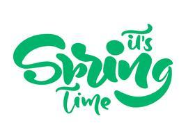 Frase de rotulação de caligrafia seu tempo de primavera vetor