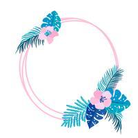 Guirlanda de verão geométrica com flor de palmeira tropical e lugar para texto vetor