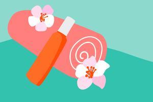 Vector toalha de algodão laranja e protetor solar loção para o corpo em um tubo de laranja