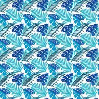 Folhas Tropicais. Textura sem costura com mão brilhante desenhada folhas de Monstera vetor