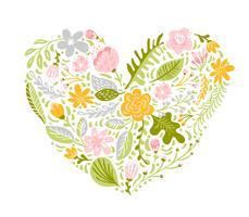 Ilustração vetorial de flores coloridas em forma de coração