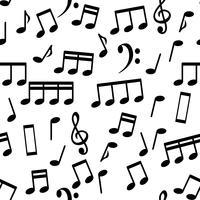 Notas Musicais, ilustração em vetor fundo padrão sem emenda