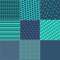 mod azul elefante verde pássaro e padrões de borboleta vetor