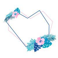 Coração geométrica grinalda de verão com palmeira tropical de flores e lugar para texto vetor