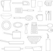 objetos de cozinha de contorno preto cozinha vetor