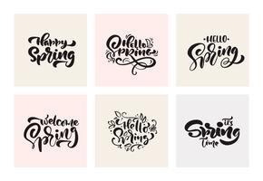Conjunto de caligrafia de primavera letras manuscritas frases