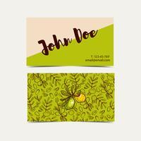 Cartões de visita de argão. Estilo ecológico em cores naturais. vetor