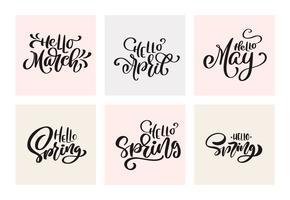 Conjunto de frases de letras de caligrafia de primavera