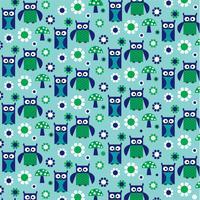 coruja verde azul e padrão de cogumelo