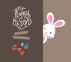 quadro de ornamento de ovos de Páscoa feliz