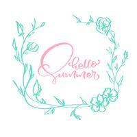 Quadro, floral, escandinavo, caligrafia, lettering, composição, texto, olá, verão