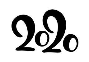 Feliz ano novo mão desenhada vector rotulação texto 2020