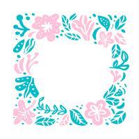 Ornamento de composição tropical de quadro floral de vetor de verão com lugar para texto