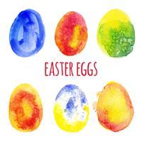 Ovos de Páscoa em aquarela vetor
