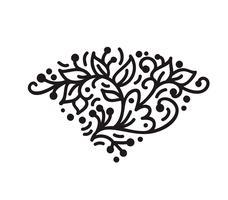 monograma de floreio monoline escandinavo vintage com folhas e flores vetor