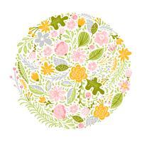 Buquê de erva de flor verde redondo abstrato plana vetor