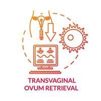 ícone de conceito vermelho de recuperação de óvulo transvaginal vetor