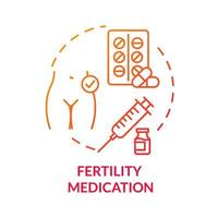 ícone de conceito vermelho de medicamento para fertilidade vetor