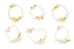 Conjunto de grinalda de primavera geométrica com flor. Quadro liso do jardim do vetor do sumário da erva.