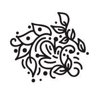 Monograma de florescer monoline escandinavo com folhas e flores vetor