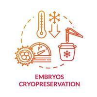 ícone do conceito de criopreservação de embriões vermelhos vetor