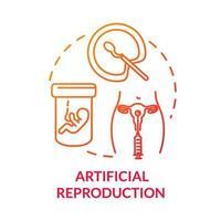ícone de conceito vermelho de reprodução artificial vetor