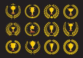 Ícones de troféu de campeões. vetor
