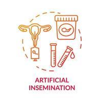 ícone de conceito vermelho de inseminação artificial vetor