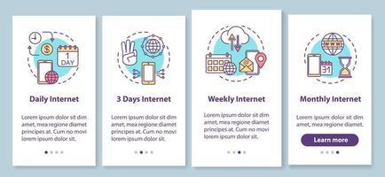 tela da página do aplicativo móvel de integração de tarifas de internet com conceitos vetor