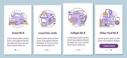 tipos de wi-fi e tela de página de aplicativo de cartão SIM local com conceitos vetor