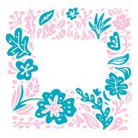 Composição tropical escandinava do frame floral do vetor do verão com lugar para o texto