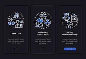 tela da página do aplicativo móvel de integração de pesquisa de energia nuclear vetor