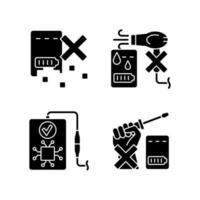 prolongando a vida útil do banco de energia conjunto de ícones de rótulo manual de glifo preto vetor