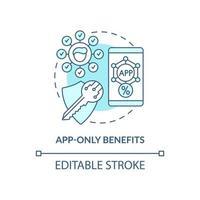 ícone de conceito azul de benefícios somente do aplicativo vetor