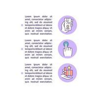 ícones de linha de conceito de check-ins gratificantes com texto vetor
