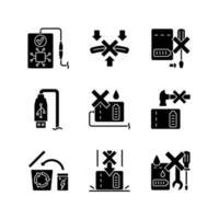 conjunto de ícones de etiqueta manual de glifo preto de instrução de banco de energia vetor