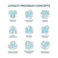 Conjunto de ícones de conceito azul do programa de fidelidade vetor