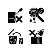 conjunto de diretrizes de carregador portátil ícones de etiqueta manual de glifo preto vetor